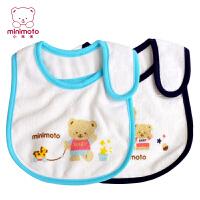 Minimoto 小米米婴儿防水小围兜宝宝围嘴魔术贴卡通(2个装) YA0436