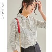 初棉古典优雅印花系带条纹衬衫