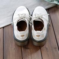 欧美复古磨砂绒面马丁鞋可爱猫咪图案圆头厚底舒适休闲鞋单鞋