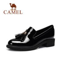 camel骆驼女鞋 新款 时尚休闲单鞋简约圆头流苏装饰女鞋