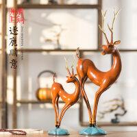 (领券再下单)朱炳仁铜 逐鹿顺意 铜鹿摆件铜工艺品 开业礼品