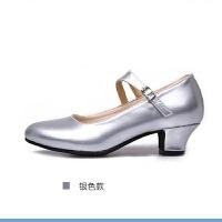 中老年女式软底低跟浅口广场舞皮鞋春秋季女士中跟皮革舞蹈鞋