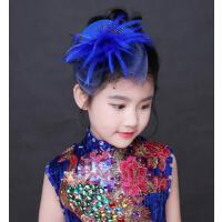 韩版百搭宝蓝色儿童头饰 网纱帽气质小礼帽户外新款女童派对公主花童礼服发饰帽子