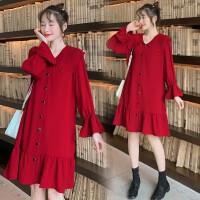 秋冬娃娃领洋气红色连衣裙中长款辣妈春装孕妇秋装过年衣服孕妇装
