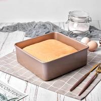 古早蛋糕模具8cm加高方形烤盘不沾加深固底水浴家用烘焙模具饼干