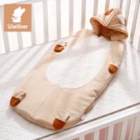 威尔贝鲁 婴儿造型睡袋宝宝卡通新生儿防踢被秋冬厚款