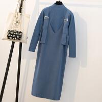 大码女装秋冬新款潮流洋气套装胖mm显瘦减龄套装裙心机时髦针织连衣裙