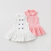 [3件3折价:69]戴维贝拉夏季新款女童连衣裙宝宝全棉公主裙DB10419