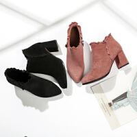 冬季【甜美水钻】时尚尖头粗跟增高女款时装靴新款短筒拉链