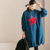 特●R117BG 韩版五角星撞色加绒中长款卫衣绒衫女【米可可】
