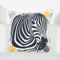 北欧简约暖黄色棉麻抱枕几何现代沙发靠垫汽车腰垫午休床头大靠枕