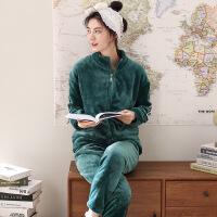 珊瑚绒睡衣女秋冬季韩版可外穿长袖加厚加绒保暖法兰绒家居服套装R7016
