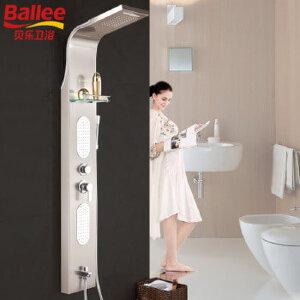 贝乐BALLEEW0078C淋浴屏花洒套装304不锈钢瀑布花洒多功能淋浴柱拉丝
