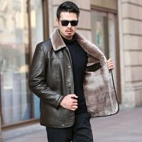 【 品质面料 穿着舒适】冬季中年男士皮毛一体爸爸冬装外套加厚加绒皮衣中老年男装皮棉衣