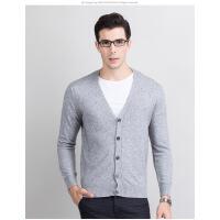 18新款羊绒衫男纯山羊绒衫V领开衫纯色厚羊毛衫针织打底衫冬