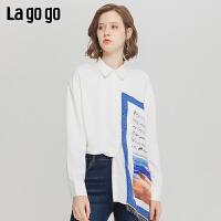 Lagogo/拉谷谷2019新款单排拼接撞色流苏装饰衬衫女ICCC45XA05