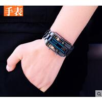 潮流时尚电子表女 led手表男二进制黑高科技学生防水韩版创意青年
