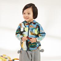 【2件3折价:149.7元】马拉丁童装男小童夹克外套春装新款满印图案休闲连帽儿童外套
