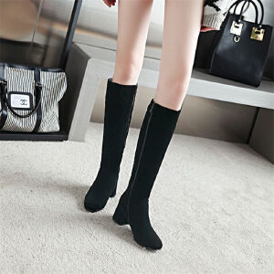 O'SHELL欧希尔新品038-7010韩版磨砂绒面粗跟中高跟女士长靴
