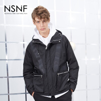 NSNF黑色织带拼接连帽宽松男士棉服 2017秋冬新款