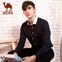 骆驼男装 春季韩版直筒长袖印花衬衫 男士衬衣青年潮