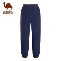 camel骆驼童装冬季新款儿童弹力针织长裤男童女童保暖加绒运动卫裤