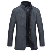 男士立领羊毛呢外套中长款男秋冬时尚修身中年男呢子大衣风衣外套
