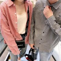 秋季情侣衬衫长袖学生宽松上衣韩版潮流bf格子衬衣男女休闲打底衫