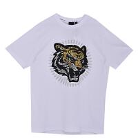 BURANDOENO潮牌夏季男士虎头短袖纯棉潮流时尚T恤 E19S71MSS105