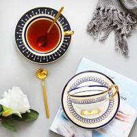 家用ins简约下午茶花茶杯带勺咖啡杯碟套装金边陶瓷咖啡杯