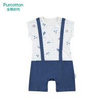 全棉时代婴儿短袖连体服开心假日,1件/袋