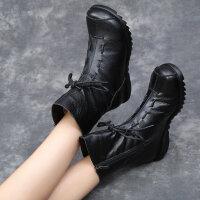 秋冬复古单靴妈妈鞋加绒百搭女靴软底防滑中老年保暖休闲靴