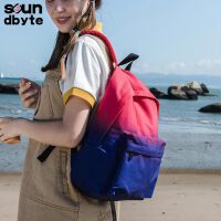 【支持礼品卡支付】soundbyte韩版学院风中学生书包女蓝红渐变印花休闲书包