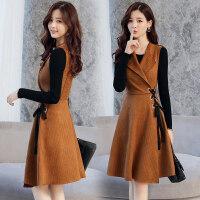 2018春秋季新款女装韩版长袖连衣裙早秋裙子套装裙初秋时尚两件套