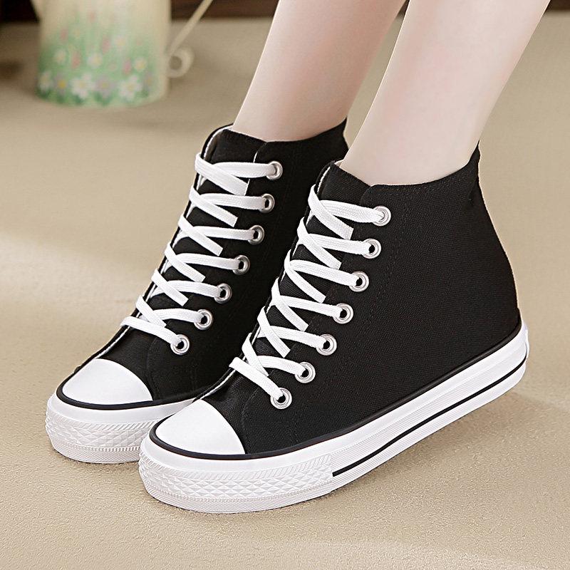内增高帆布鞋女鞋高帮鞋春秋季韩版女士百搭学生休闲基本款小白鞋