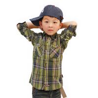 【两件1.3折价:17.4元】童装男小童休闲格子衬衫儿童纯棉长袖宝宝秋季翻领衬衣特价清仓