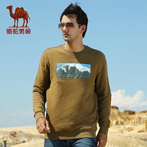骆驼男装 新款 秋装 男士套头卫衣 男时尚大众纯棉卫衣