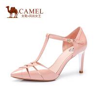 Camel/骆驼女鞋 时尚优雅 牛漆皮尖头搭扣高跟单鞋新性感春鞋