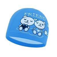 2018新款 儿童卡通小熊游泳帽儿童泳帽男童女童通用PU涂层防水护耳泳帽