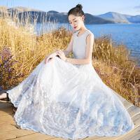 2017新款女装无袖蕾丝裙子连衣裙长裙波西米亚海边度假沙滩裙 白色 XZ17C786