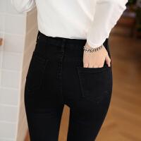 韩版黑色双扣高腰弹力显瘦小脚牛仔裤女长裤烟灰色修身铅笔9分库