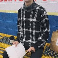 新款男士线衫2018新款冬季男士流行时尚打底衫格子宽松潮牌加厚高领毛衣男