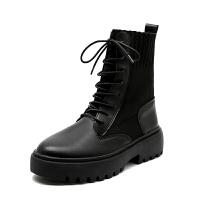 马丁靴女2019秋冬帅气英伦风瘦瘦靴机车靴子黑色厚底百搭短靴 黑色