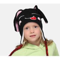 kenmont儿童帽子 女童男童护耳帽针织帽冬季可爱小黑兔帽4829