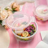 圆形玻璃碗带盖微波炉加热饭盒上班族带饭学生餐盒保鲜盒冰箱专用