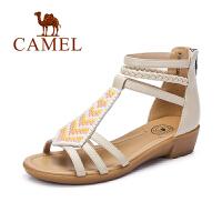 Camel/骆驼女鞋 时尚休闲 头层纳帕牛皮波西米亚串珠小坡跟凉鞋