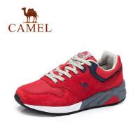 camel骆驼女鞋 秋季新款运动鞋 网布拼接跑步鞋 女士休闲中跟单鞋