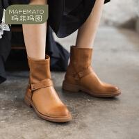 玛菲玛图2020秋季新款靴子女方跟皮带扣后拉链短靴欧美真皮马丁靴8282-43