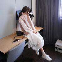 2018新款女装套装秋装女2018新款长袖韩版秋季毛衣背心裙子马甲两件套装针织连衣 杏色马甲+白色蕾丝裙