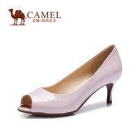 Camel骆驼女鞋 时尚 鱼嘴压纹牛漆皮高跟鞋 春夏新品